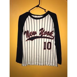 "On Fire Tops - Pinstriped baseball ""New York"" long sleeve tee"